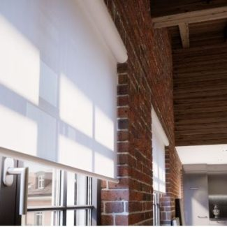 White sheer electric blinds