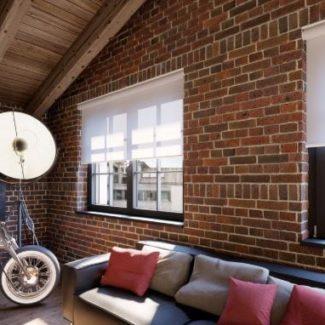 Sheer white electric blind in modern flat