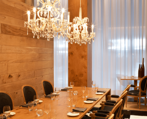 luxury electric curtains with chandelier