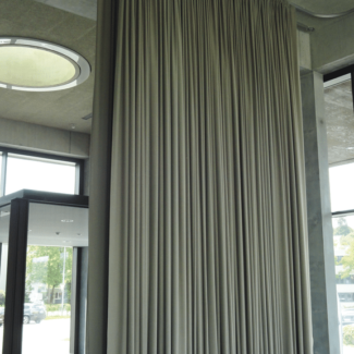 Electric curtains in a large office