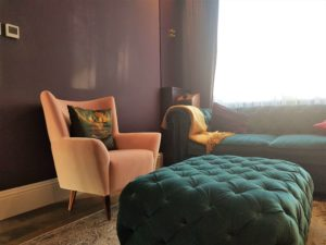 Amazing cinema room bespoke ottoman and pink velvet chair