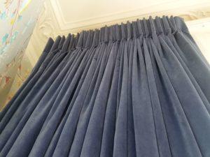 Blue velvet pinch pleat curtains
