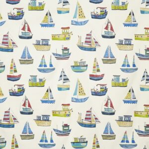 Children curtain ideas boat fabric cobalt