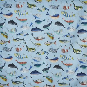 Children curtain ideas whale fabric 2