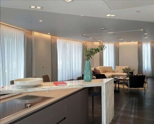 Curtains London Riverside Flat. 6 Pinch pleat curtains for a cirved moden apartment overlooking the city