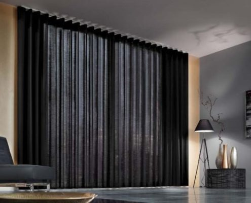 Contract Curtains Wave Heading In a very dark grey voile fabric