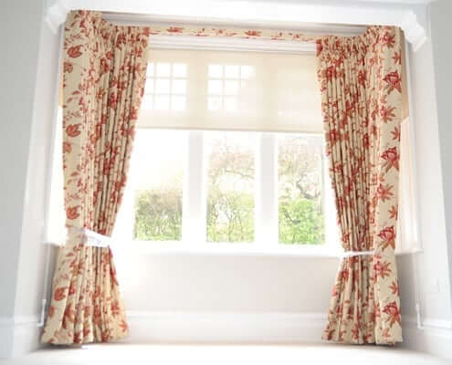 Floral pinch pleat curtains London. For a home in Barnet, north london