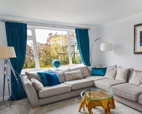 Living Room Pinch Pleat Curtain London Ideas. Perfect designer curtains made in a pinch pleat heading fitted on a pole