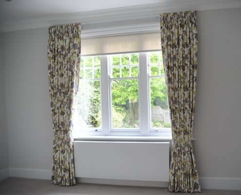 Pinch Pleat Curtain London Ideas on Track. Fitted on a straight window with a sheer blind behind