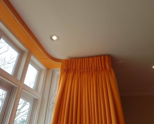 Pinch Pleat curtains on covered lathe