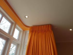 Covered curtain pelmet in a North London home