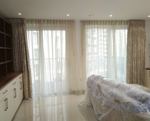 Voile Floor To Ceiling Curtains In The Kitchen