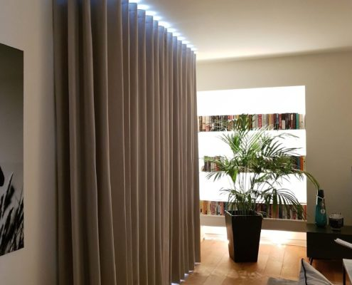 Wave Curtains made to measure fitted on a custom made bay Silent Gliss track