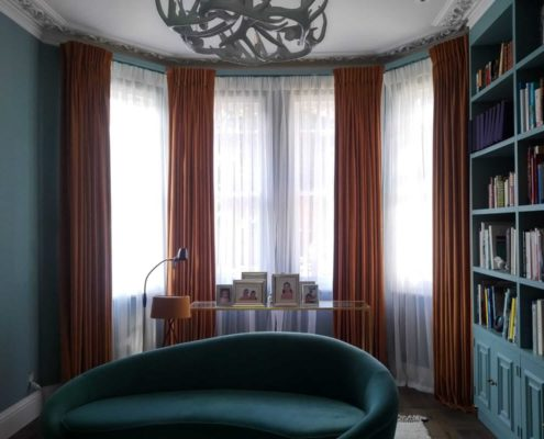 Luxury floor to ceiling interlined made to measure curtains in a pinch pleat heading in a west London home