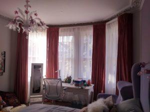 Orange Bay Window Interlined Curtain