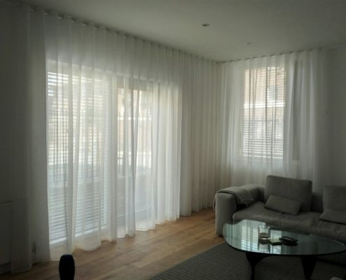 Wave made to measure curtain heading Voile made for a London modern flat