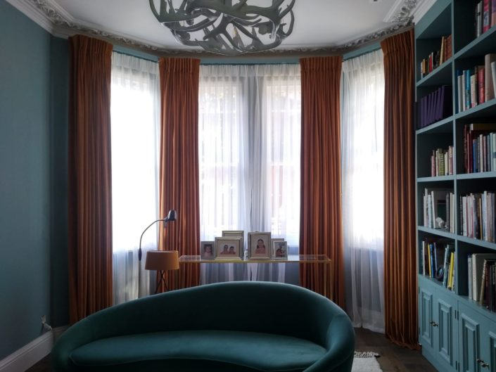 Lovely floor to ceiling pinch pleat curtains style for a property in Ealing London