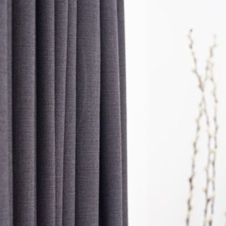 Grey linen fabric close up