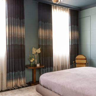 Ombe Boeme fabric bespoke made for the Wave curtains in the master bedroom